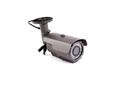 security camera: security camera on white background Stock Photo