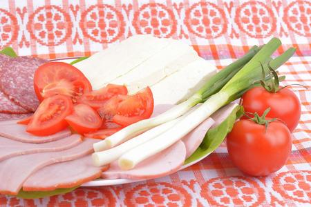 air dried salami: food on romanian traditional towel