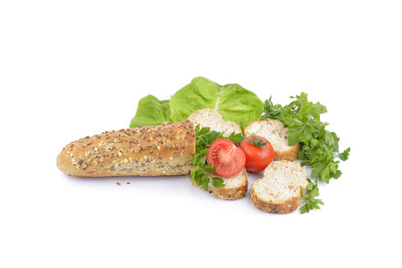 air dried salami: breakfast with fresh baked bread, traditonal salami, cheese and vegetables