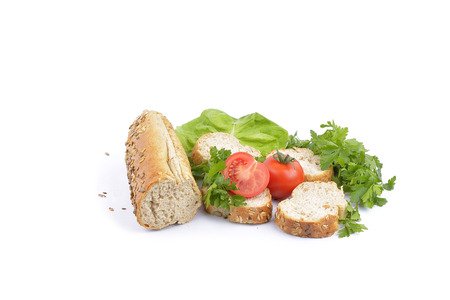 traditonal: breakfast with fresh baked bread, traditonal salami, cheese and vegetables
