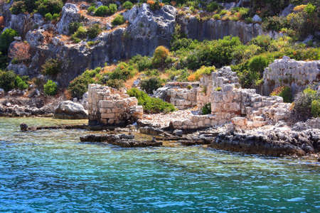 ancients: Rruins of the ancient town Kekova  The ancients of  Lycia  The ancient civilization of Lycia  Stock Photo