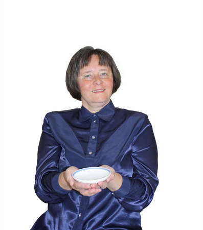 saucer: A woman with saucer Stock Photo