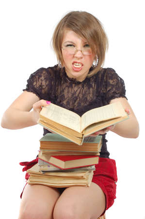bore: sitting girl loudly close the book whith grimace on her face. over white