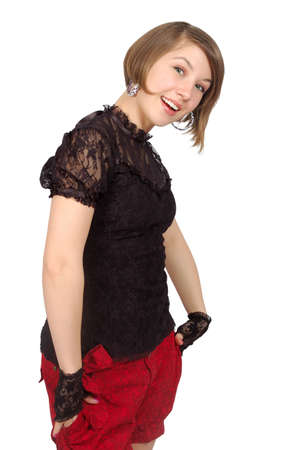 affability: attractive smiling girl stay in the invinting pose. isolated over white