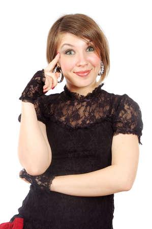 affability: nice smiling girl posing. isolated over white