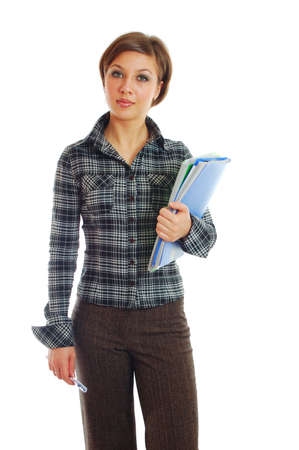 business-woman hold folders. isolated over white. photo