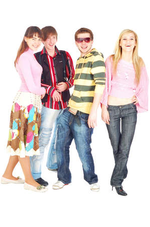 happy four young adult friends looking at camera and smile photo