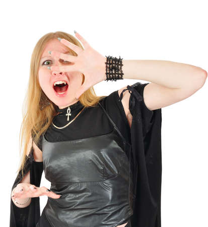 the enchantress: screaming witch. isolated on white Stock Photo