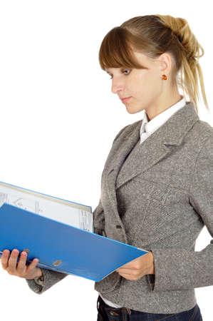 captivating: businesswoman looks through portfolio, isolated on white Stock Photo