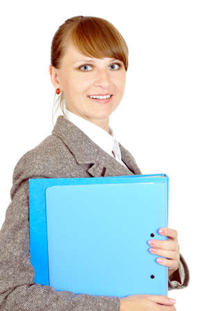 young smiling businesswoman with portfolio photo