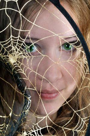 wep: I look through the wep, on black background Stock Photo