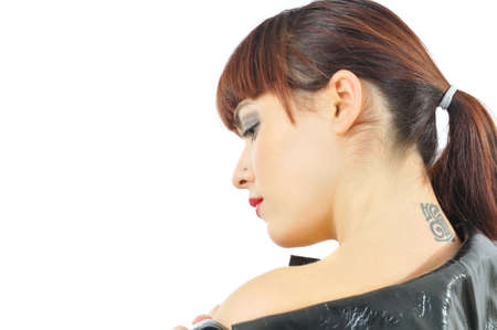 Pretty girl with tattoo on neck, isolated on white photo