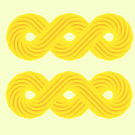 Set of yellow 3d infinity symbol