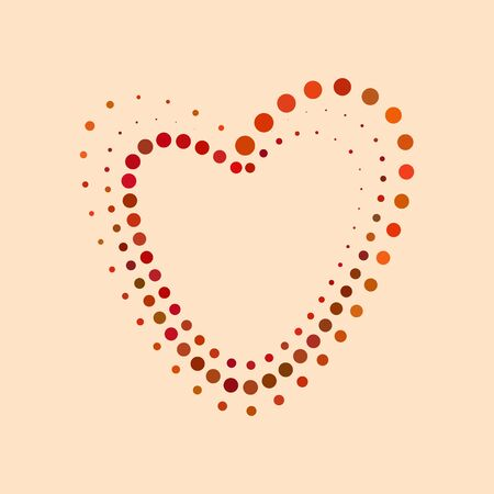 Vector heart shape from colored dots. Halftone effect. Standard-Bild - 128781080