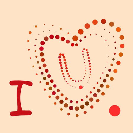 Vector heart shape from colored dots. Halftone effect. Standard-Bild - 128781078