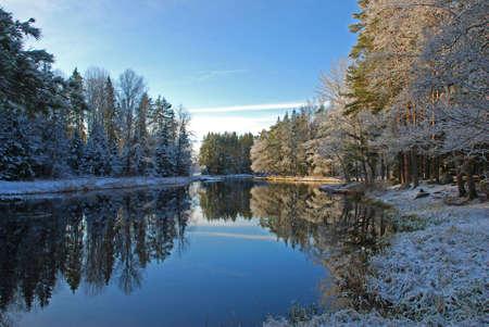 Winter river landscape photo
