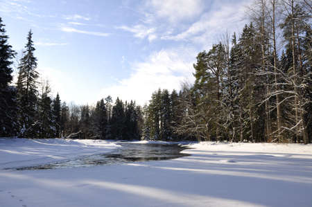 wintry landscape: Winter river landscape Stock Photo