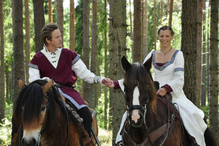 knight horse: Princess bride and her knight on horses  wedding