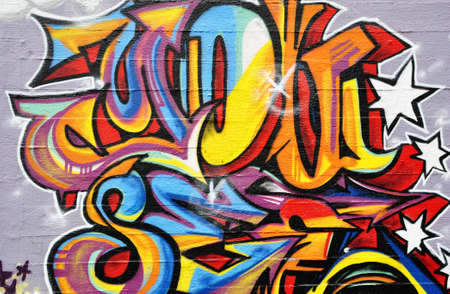 Background picture of colorful graffiti wall Editorial