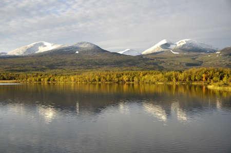 Calm lake reflection, abisko national park in Sweden Stock Photo - 15237571
