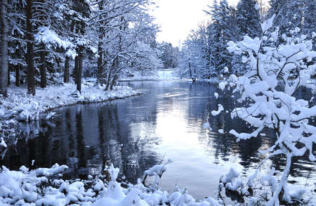 riverside landscape: River landscape in winter before sunrise