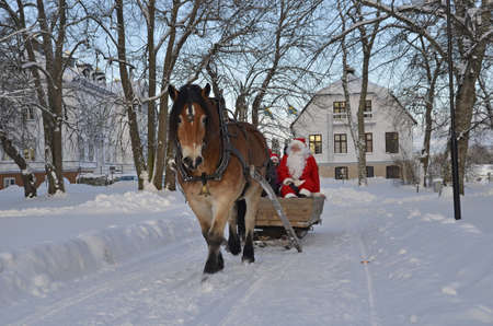 Gysinge, Sweden - December 08: Santa claus goes to sleigh with brown horse at Christmas time in Gysinge on December 08, 2012 in Gysinge Sweden.