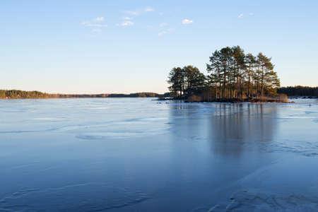 frozen lake: Frozen lake landscape in winter
