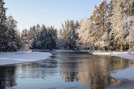 flowing river: Scenic view of a flowing river in winter