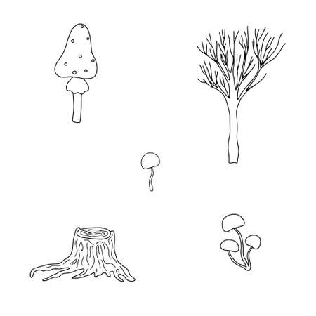 Seasonal Halloween vector illustration of trees, witch mushrooms autumn holidays simple minimalist hand drawn doodle style drawing