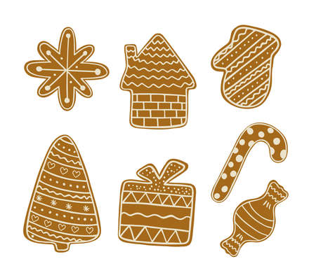 Christmas gingerbread cookies, traditional holiday celebration design hand drawn in doodle style decorated with sugar icing winter sweet food for greeting card, invitations, banner vector illustration Stock Illustratie