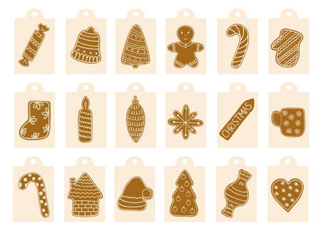 Christmas gingerbread cookies gift tags labels set, traditional holiday celebration design hand drawn in doodle style decorated with sugar icing winter sweet food