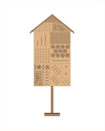 Wooden insects hotel, garden accessories for eco-friendly attitude to nature, conceptual illustration of insects care and environment protection Vettoriali