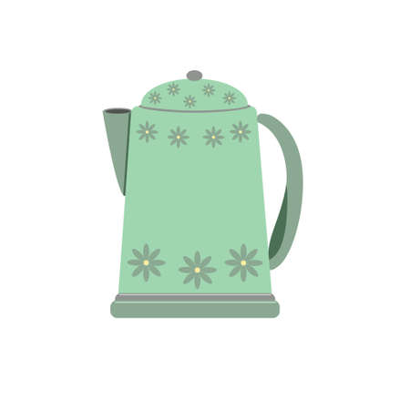 Kettle for making tea or coffee, kitchen electric appliance, device necessary for boiling water, cozy home eco-friendly concept, hand drawn vector illustration