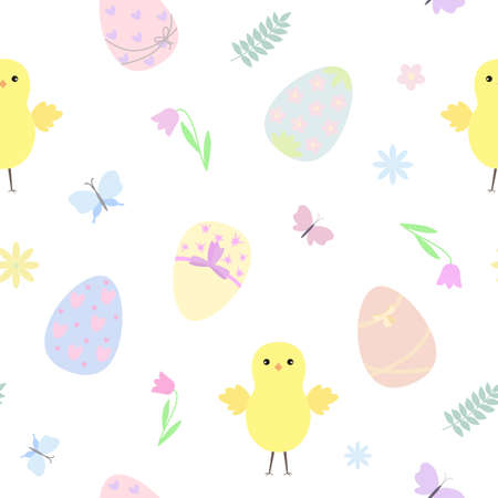 Easter holiday symbol colorful decorated eggs in pastel tones, chicken, butterflies, flowers seamless pattern, flat style vector illustration for spring festive time decor, cards, gift paper, banners, web design Vetores