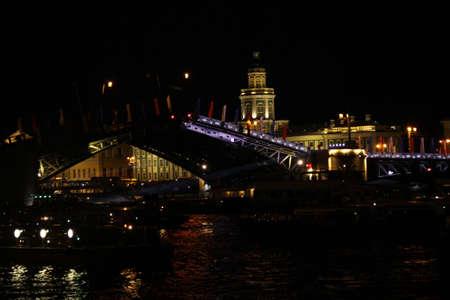 Night lights view of old bridge