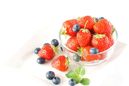 strawberry with blueberry in the glass bowl Stock Photo - 13917421