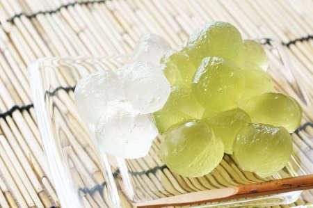 starch: bracken starch dumpling on the glass plate