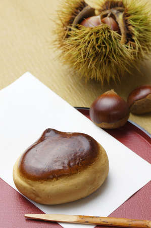 Japanese sweet of chestnut shape Stock Photo - 15442423