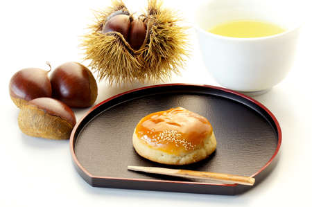 Japanese sweet of chestnut shape Stock Photo - 15442434