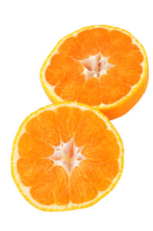 bisected: mikan; satsuma; TV orange;  Japanese orange Stock Photo