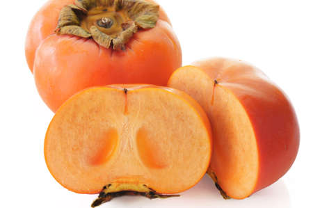 Jiro kaki  Persimmon, sharon fruit   on white background Stock Photo - 16552176