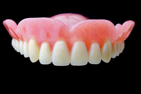 surrogate: Full Denture, Dental plate on black background