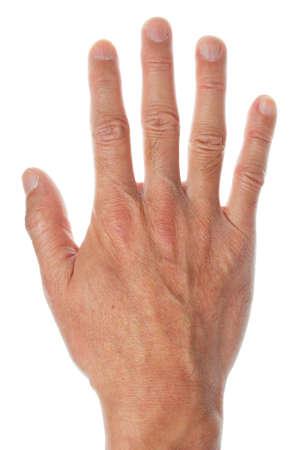 Human main droite sur fond blanc Banque d'images