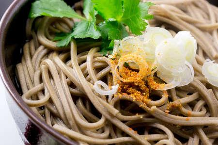 熱いスープに日本蕎麦