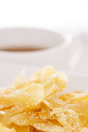 Ginger dried chips with sugar photo