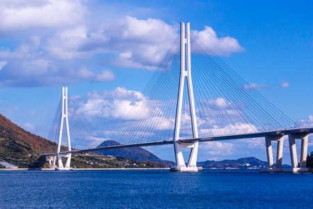 多 々羅大橋は広島県生口島と大三島をつなぐ 写真素材