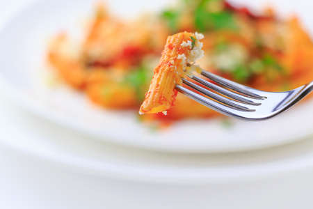 short pasta: Itarian traditional short pasta dish, red and hot Stock Photo