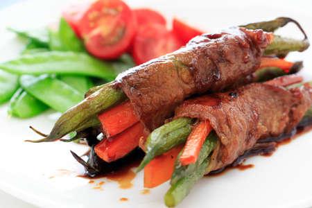 teriyaki: Vegetable wrapped by meat  with Teriyaki sauce