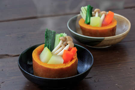 Boiled and seasoned winter squash Stock Photo
