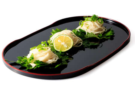 Somen - Japanese style thin wheat noodles on the Japanese lacquerware Stock Photo